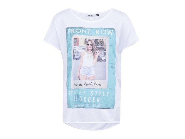 Bílé tričko s potiskem ONLY Front Row