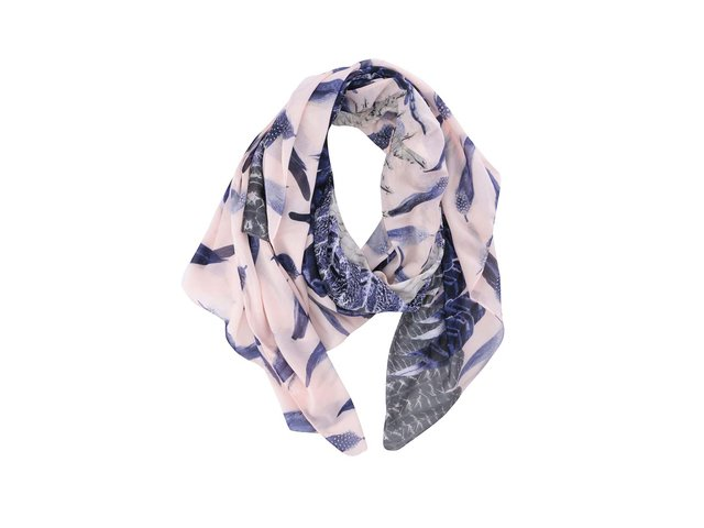 Růžový šátek se vzorem peří Pieces Fulita