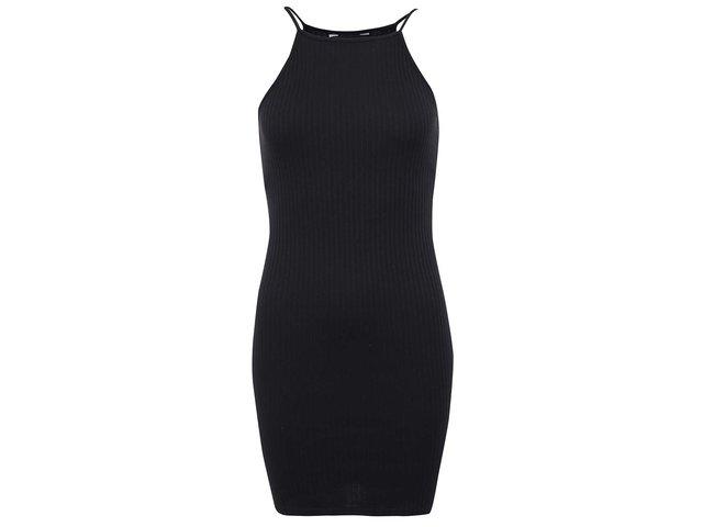Černé mini šaty se žebrováním New Look