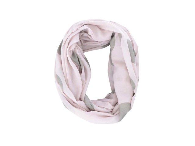 Růžový puntíkovaný dutý šátek Pieces Namid