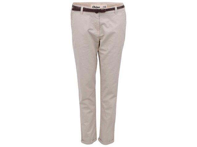 Béžové chino kalhoty s páskem New Look