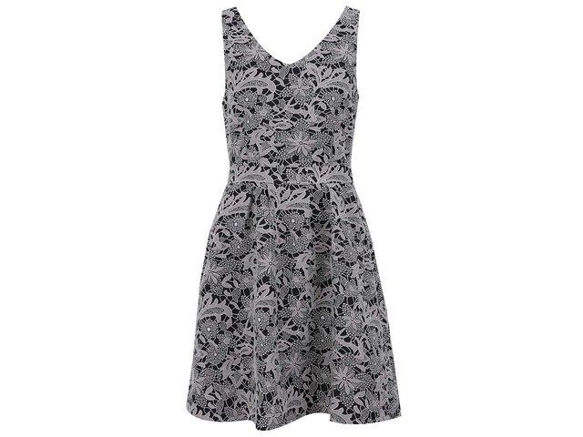 Bílo-černé vzorované šaty VILA Nessy
