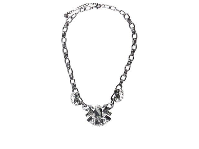 Černý náhrdelník s kamínky Pieces