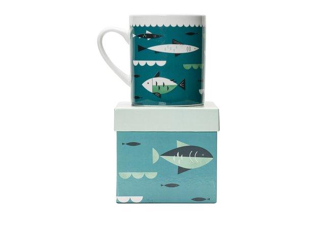 Porcelánový hrnek s dárkovou krabičkou Magpie Fish