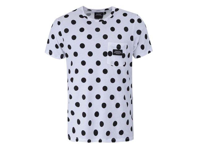 Bílé triko s černými puntíky WeSC Dot