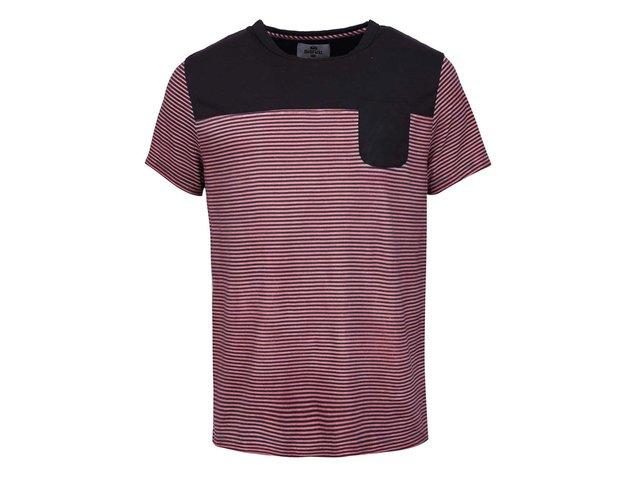 Černo-červené pánské pruhované triko s kapsou Bellfield Brant