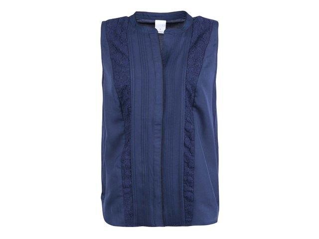 Tmavě modrý top s krajkou Vero Moda Tiffany