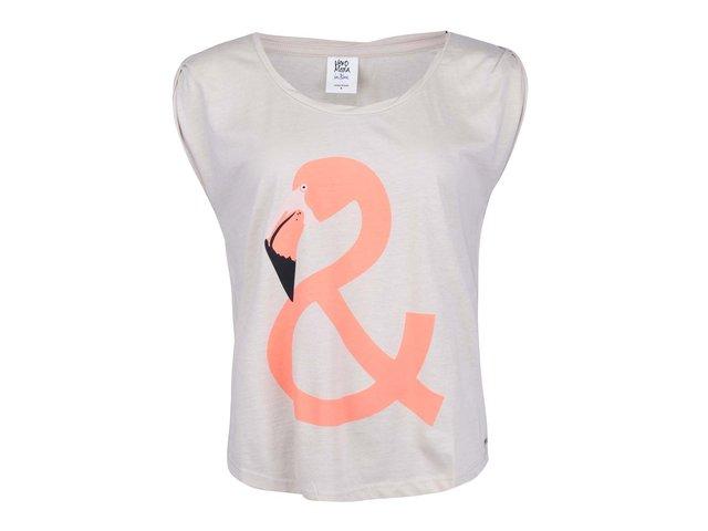 Béžové tričko s plameňákem Vero Moda Mino
