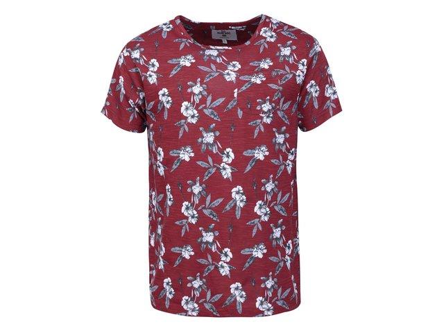 Vínové pánské triko s květinovým potiskem Bellfield Geneva