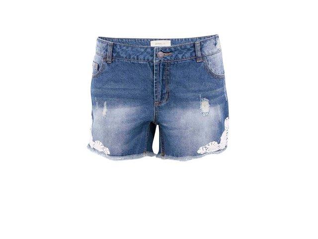 Modré džínové kraťasy s krajkovým detailem Vero Moda Paula