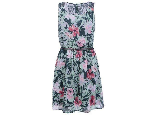 Zelené šaty s květy ONLY Lia Lace