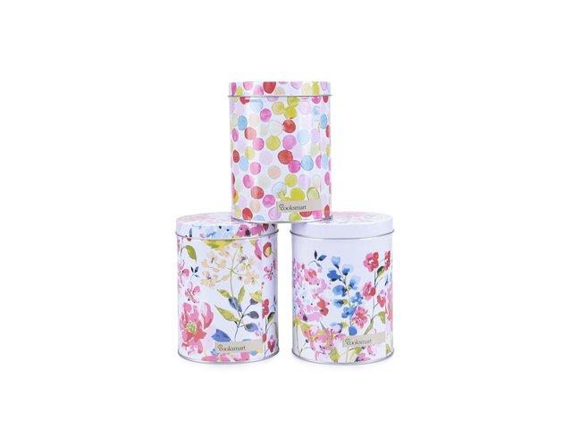 Tři bílé dózy s motivem květin Cooksmart Floral Romance
