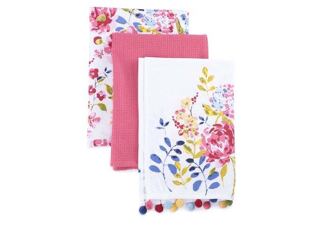 Sada tří barevných utěrek s motivem květin Cooksmart Floral Romance