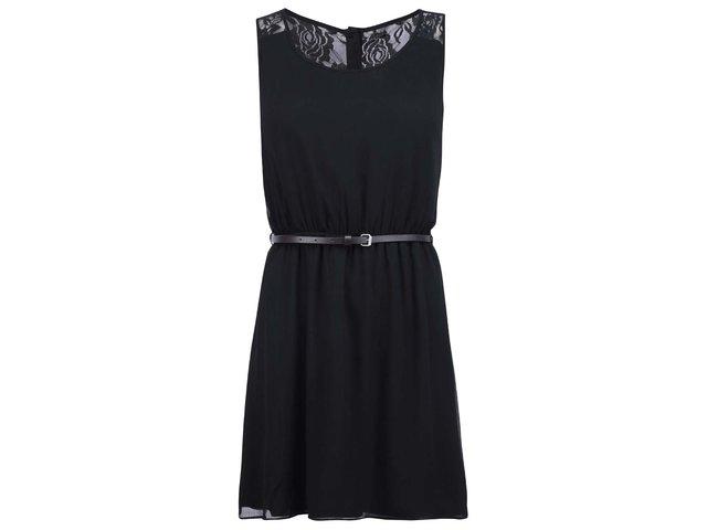 Černé šaty s páskem ONLY Lia Lace