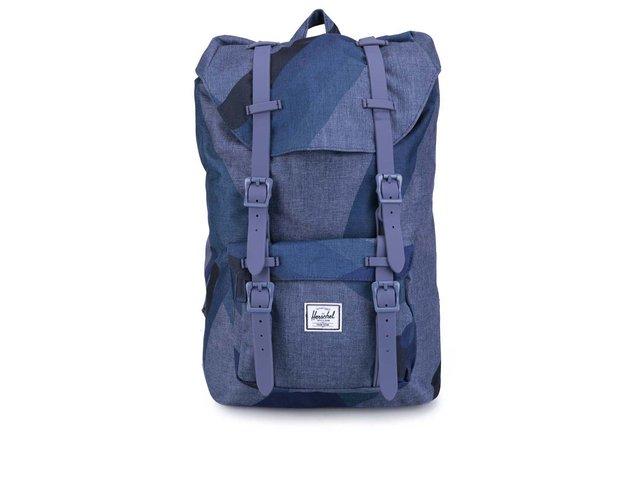 Menší modrý vzorovaný batoh s přední kapsou Herschel Little America