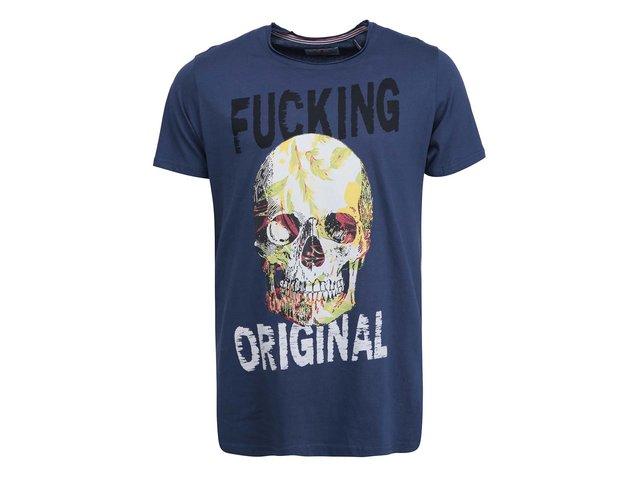 Tmavě modré triko s lebkou Shine Original