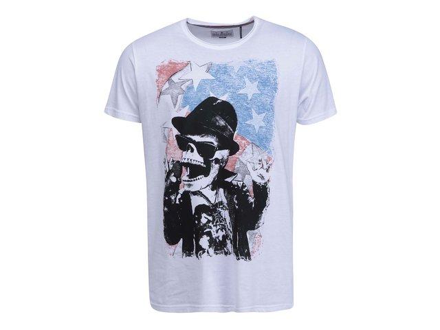 Bílé triko s lebkou Shine Original