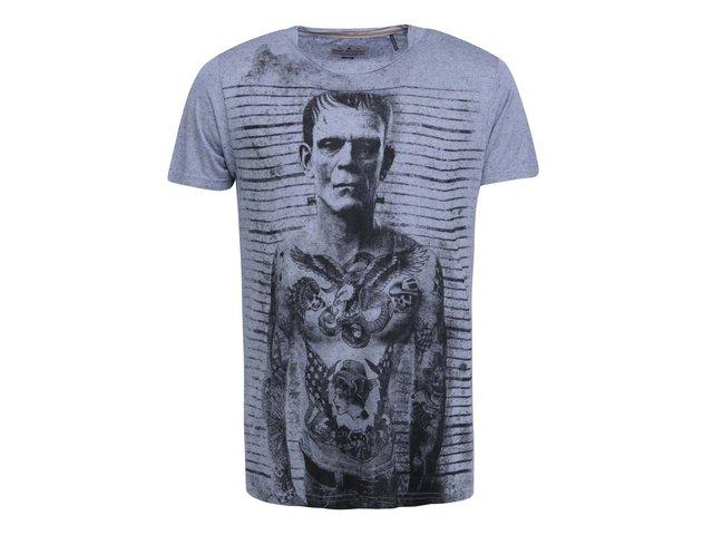 Šedomodré triko s potiskem Shine Original Frank