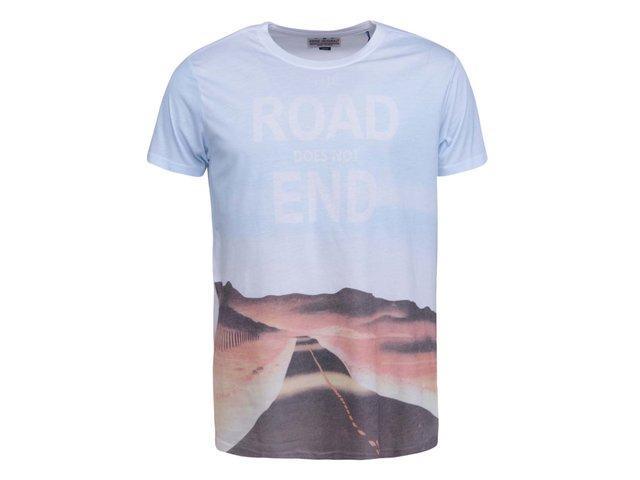 Světle modré triko s barevným potiskem Shine Original