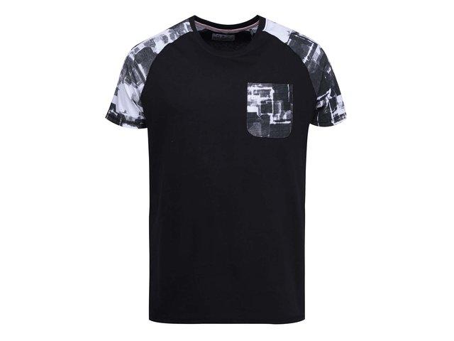 Černé triko se vzorovanými detaily Shine Original Raglan