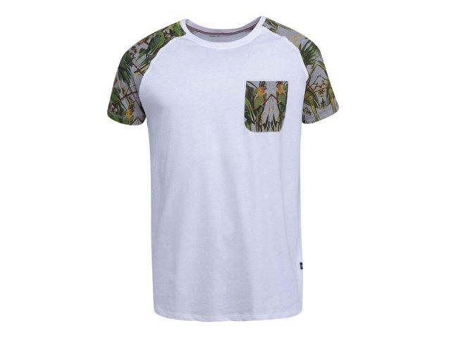 Bílé triko s barevnými vzorovanými detaily Shine Original Raglan