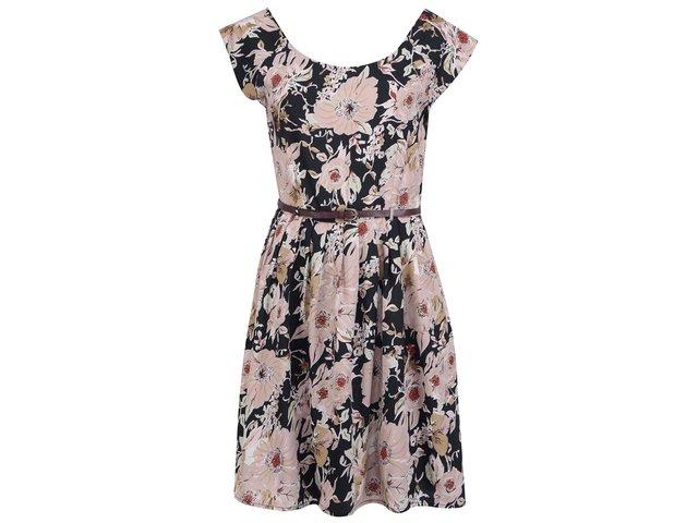 Černé květované šaty s páskem VILA Ams