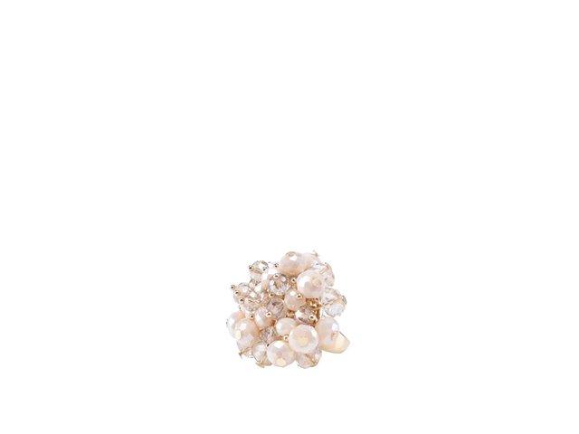 Prstýnek ve zlaté barvě s pudrově růžovými perličkami ALDO Colahan