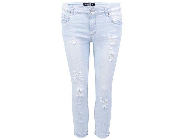 Světle modré vyšisované tříčtvrteční kalhoty Haily´s Tammy