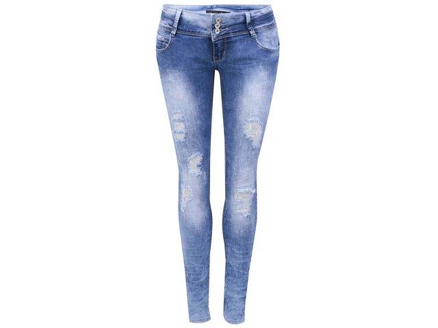 Modré slim džíny s potrhaným efektem Haily´s Carolina