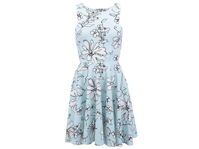 Světle mentolové šaty s bílými květy Closet