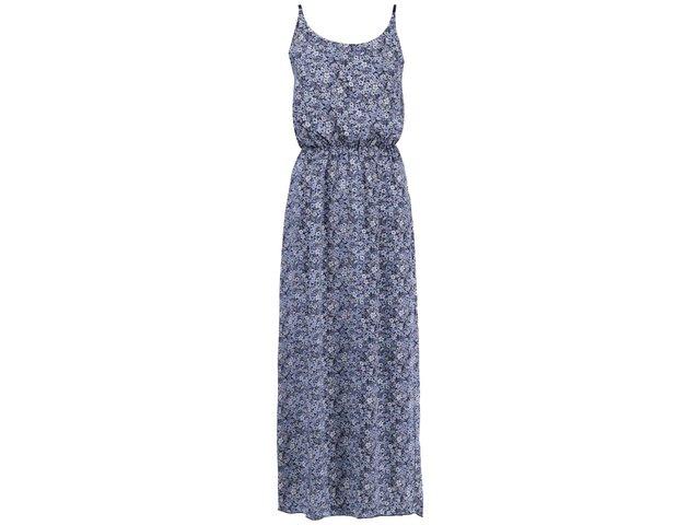 Modré dlouhé šaty s květinovým vzorem Vero Moda Easy