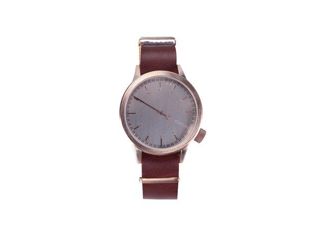 Hnědé kožené unisex hodinky s pozlacenou ocelí Komono Magnus The One