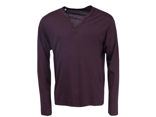 Vínové triko s dlouhým rukávem Selected Pima