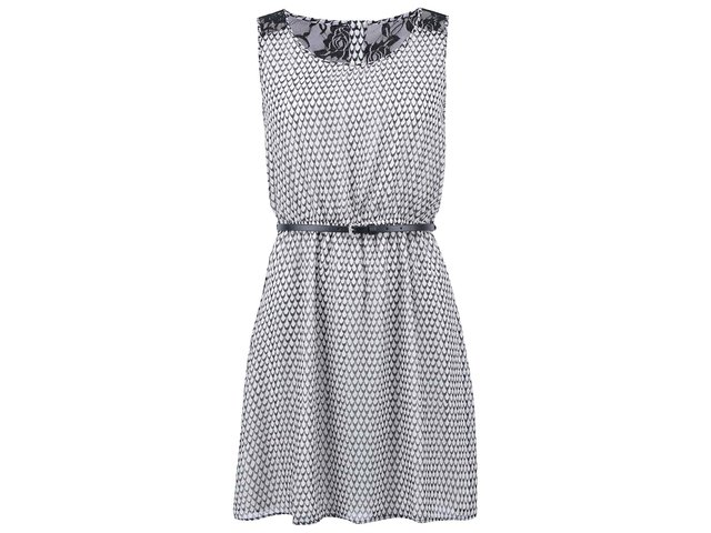 Černo-bílé vzorované šaty s krajkou ONLY Lia Lace