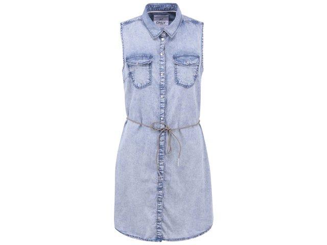 Modré džínové šaty bez rukávů ONLY Claire