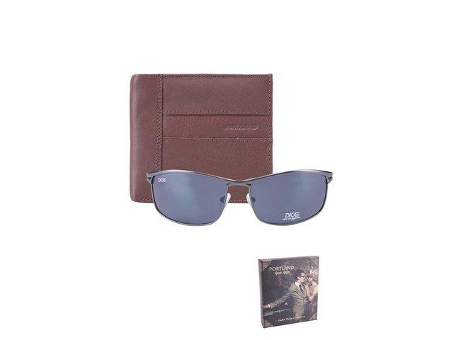 Sada s hnědou koženou peněženkou a slunečními brýlemi Portland II.