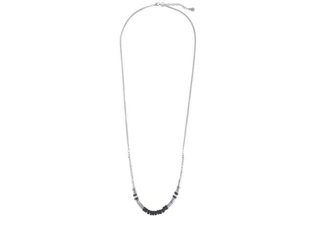 Řetízkový náhrdelník v černo-stříbrné barvě Pieces Emon