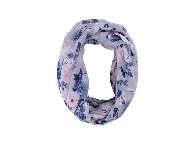 Šedý šátek s barevnými květy Pieces Gytte