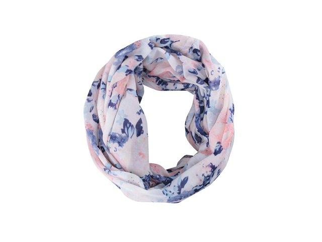 Bílý šátek s barevnými květy Pieces Gytte