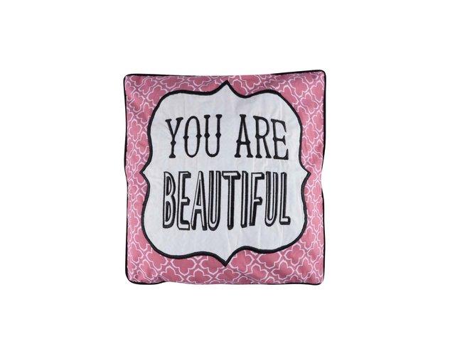Růžový polštář Sass & Belle You Are Beautiful