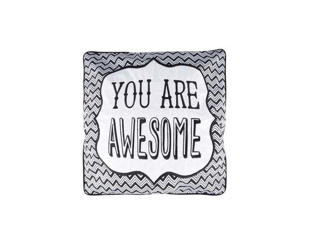 Černý polštář Sass&Belle You Are Awesome