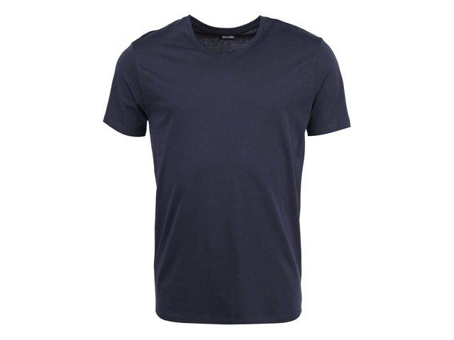 Tmavě modré triko s véčkovým výstřihem ONLY & SONS Pima
