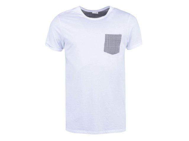 Bílé triko s náprsní kapsou Jack & Jones Glenn