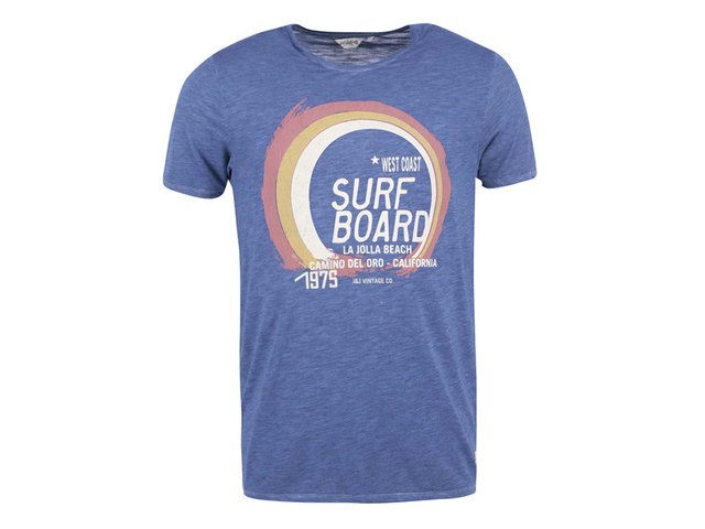 Modré triko s potiskem Jack & Jones Malibu Sunset