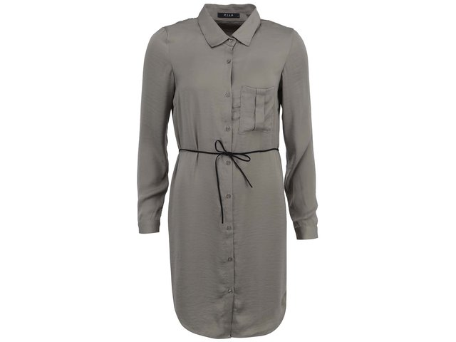 Khaki šaty s dlouhým rukávem VILA Melli