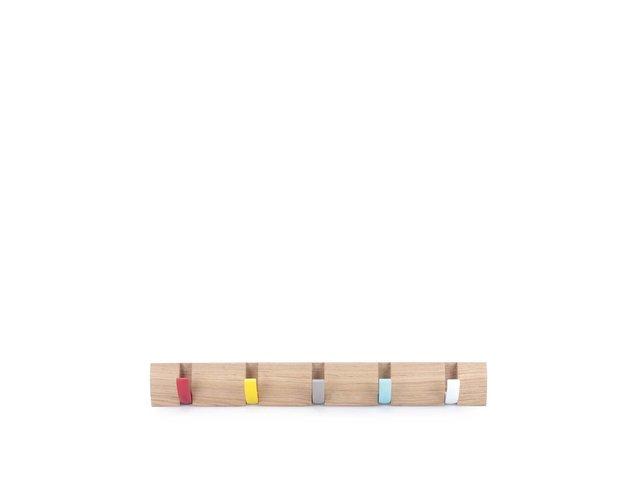 Dřevěný věšák na zeď s barevnými háčky Umbra Flip