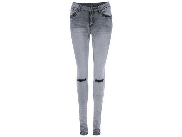 Šedé skinny džíny s dírami VILA Commit