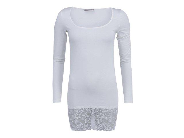 Bílé dlouhé tričko s krajkovým lemem Vero Moda Maxi My
