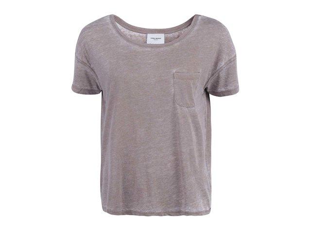 Světle hnědé tričko s kapsičkou Vero Moda Sofia