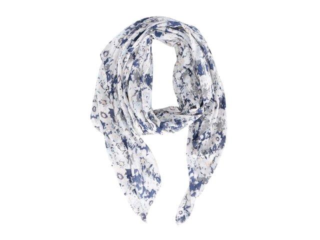 Modro-krémový květovaný šátek Pieces Leela